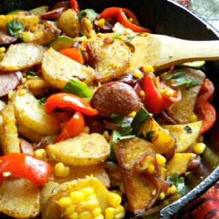 Sausage Potato Skillet with Zucchini, Corn and Basil