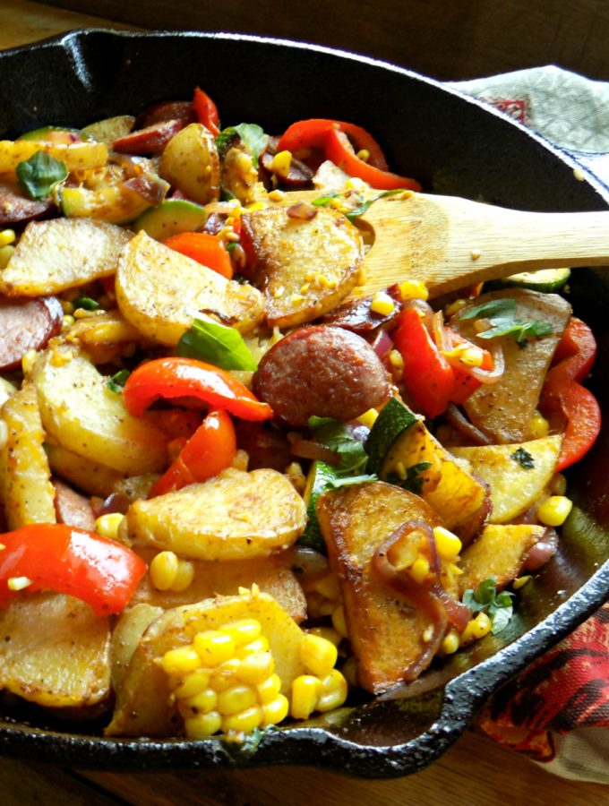 Sausage Potato Skillet with Zucchini, Corn and Basil