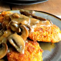 Chicken Schnitzel with Mushroom Cider Gravy