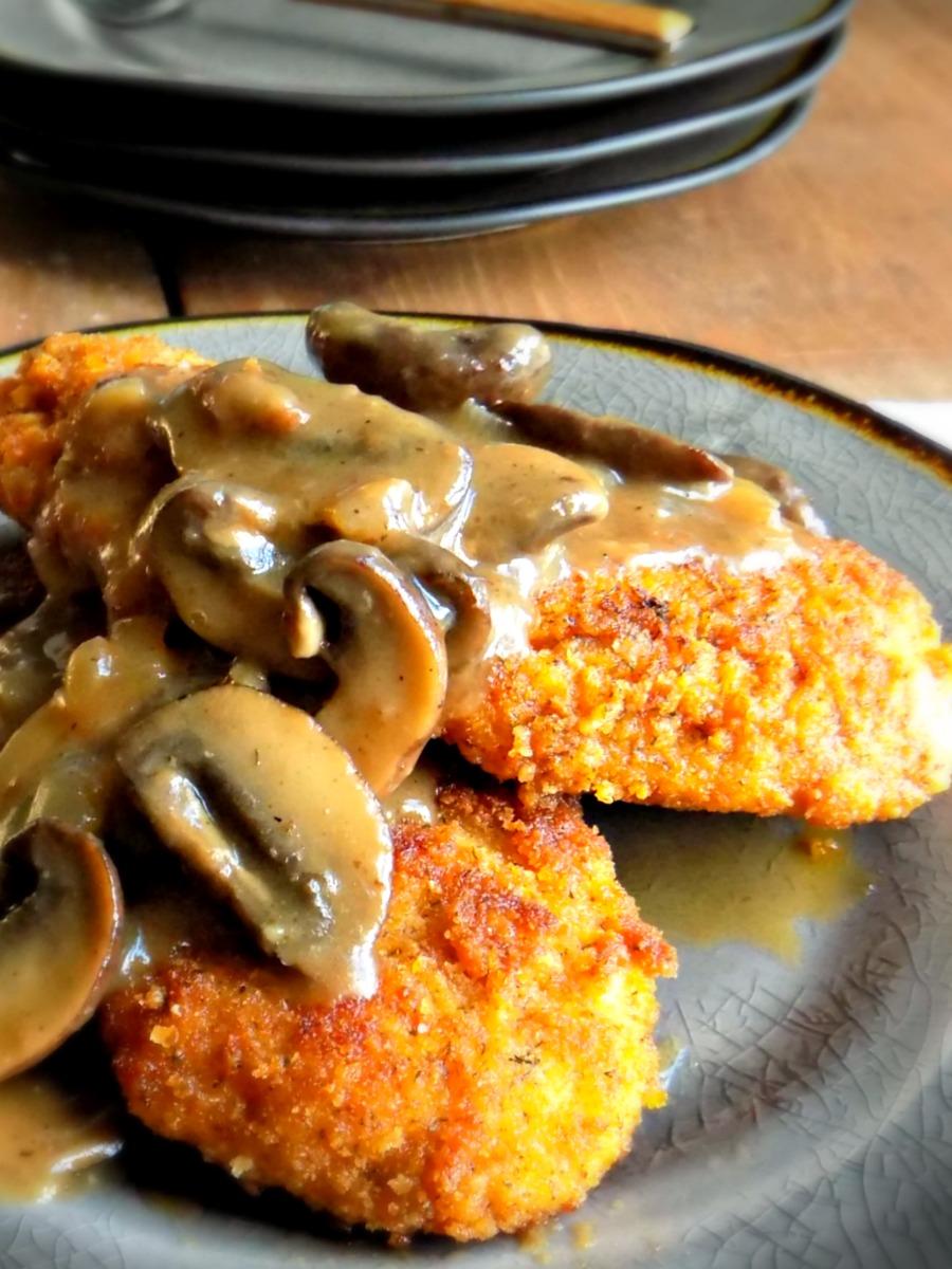 Chicken Schnitzel with Mushroom Cider Gravy