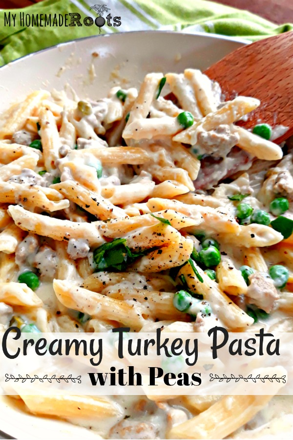 Creamy Turkey Pasta with Peas - perfect for spring!