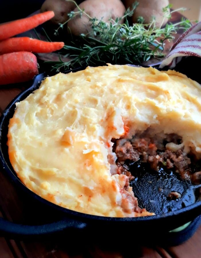 Pan of Homemade Cottage Pie with Beef