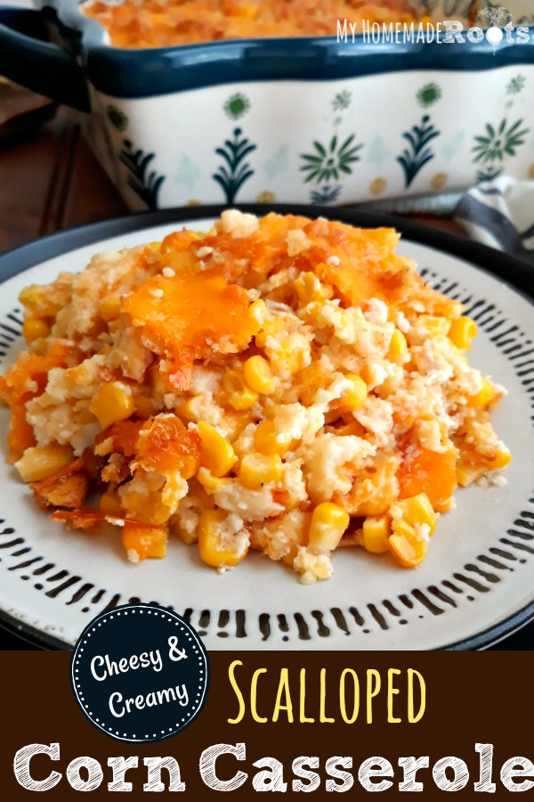 Old-Fashioned Scalloped Corn Casserole - Perfect for Potlucks, Holidays, Cookouts and Sunday Dinner
