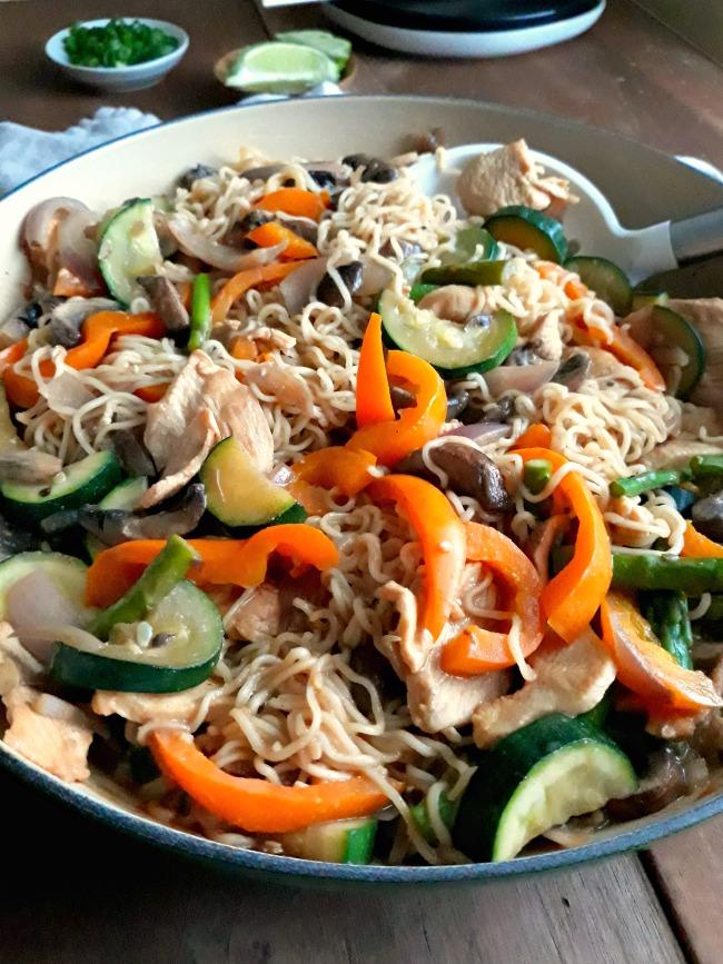 A Pan of Thai Chicken Peanut Noodles