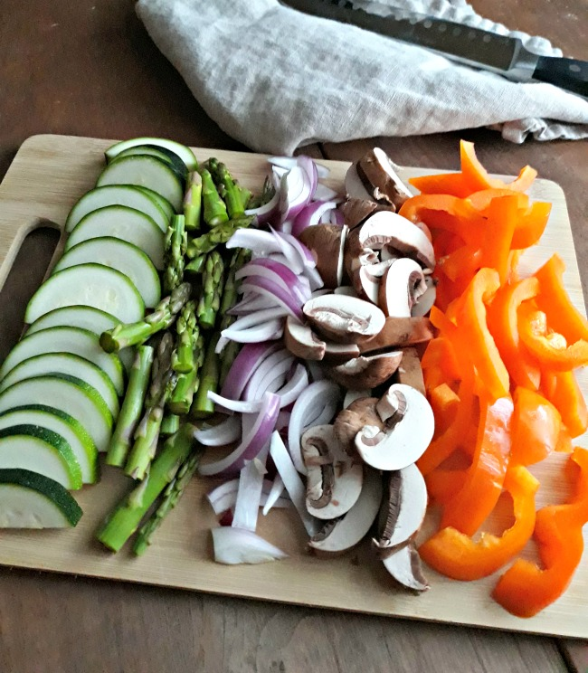 Chopped Vegetables for Thai Peanut Chicken Noodles