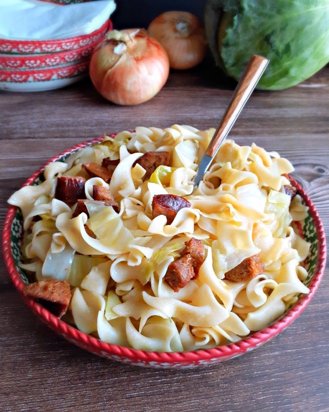 Pittsburgh-Style Haluski (Fried Cabbage and Noodles) with Kielbasa