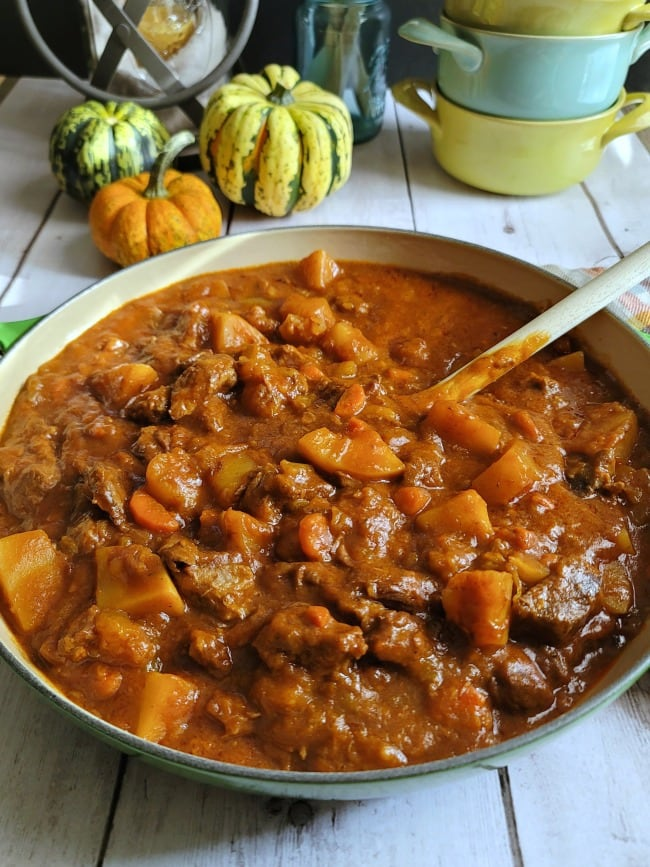 Autumn Harvest Beef Stew in Dutch Oven