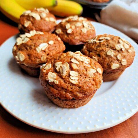 Plate of Spelt Banana Muffins Sweetened with Honey
